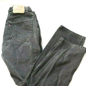 Levis 505 Black Denim Regular Fit Mens Jeans